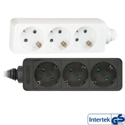 InLine Socket strip, 3-way earth contact CEE 7/3, white, 3m