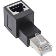 InLine patch cord adapter Cat.6A, RJ45 M / F, angled 90° upwards