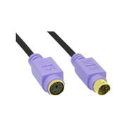 InLine PS/2 cable, , M/F, black/purple, golden contacts, 2m