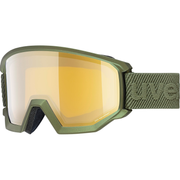 Uvex athletic FM winter sport goggles Olive Unisex Mirror, Yellow Cylindrical(flat) lens