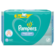 Pampers Fresh Clean Baby Wipes 3 Packs = 156 Wipes, Wet baby wipe, Dermatologically tested, Hypoallergenic, Neutral pH, Alcohol free