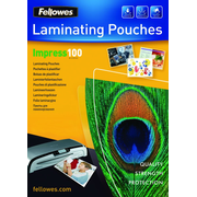 Fellowes A3 Glossy 100 Micron Laminating Pouch - 100 pack, Transparent, Plastic, A3, 420 mm, 297 mm, 1 mm