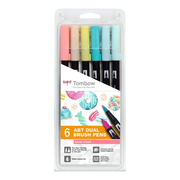 Tombow ABT-6P-4, Fine/Extra Bold, 6 colours, Multicolour, Bullet tip & Brush tip, Multicolour, Round