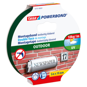 TESA Powerbond OUTDOOR, Mounting tape, Black, 5 m, Outdoor, Brick,Metal,Plastic,Stone, 19 mm