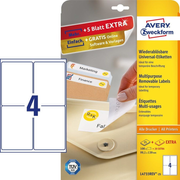 Avery Zweckform L4733REV-25, White, Rounded rectangle, Removable, DIN A4, Universal, Paper