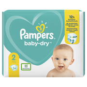 Pampers Baby-Dry Size 2, 34 Nappies, Up To 12h Protection, 4-8kg, Boy/Girl, Tape diaper, 4 kg, 8 kg, White, Velcro
