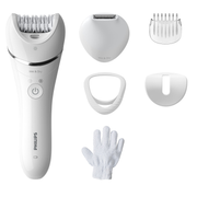 Philips For legs and body Wet and Dry epilator, Silver,White, 32 tweezers, 70400 RPM, Battery, 15 V, Built-in battery