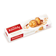Kambly Mandelcaramel, Biscuit, Eggs, Gluten, Milk, Nuts, Soybeans, Round, 100 g, Paper, Box