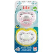 bibi Day & Night Girl, Classic baby pacifier, Orthodontic, Silicone, Girl, Bisphenol A (BPA) free, 2 pc(s)