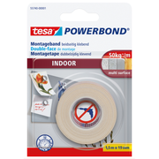 TESA Powerbond INDOOR, Mounting tape, White, 1.5 m, Indoor, Plaster,Plastic,Wood, 5 kg/cm