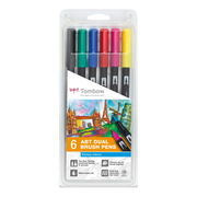Tombow ABT-6P-1, Multicolour, Round, Black, Blue, Green, Pink, Red, Yellow, Blister, 6 pc(s)