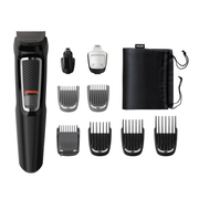 Philips MULTIGROOM Series 3000 9 tools 9-in-1, Face and Hair, Black, Rectangle, Beard,Ear,Eyebrow,Moustache,Nose, Stainless steel, Battery, 60 min
