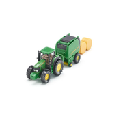 Siku John Deere Tractor with round baler, Green, Yellow, Off-road vehicle model