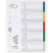 Durable Indexes with Printed and 5 Coloured Tabs, Blank tab index, Polypropylene (PP), Multicolour, Portrait, A4, 220 mm