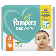 Pampers Baby-Dry Size 3, 31Nappies, Up To 12h Protection, 6-10kg, Boy, Tape diaper, 6 kg, 10 kg, White, Velcro
