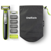 Philips Norelco OneBlade Trim, edge, shave Face and Body, Wet & Dry, Battery, Charcoal,Lime