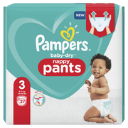 Pampers Baby-Dry Pants Size 3, 27 Nappies, 6kg-11kg, Boy/Girl, Pant diaper, 6 kg, 11 kg, Green,White, Petrolatum, Stearyl Alcohol, Paraffinum Liquidum, Aloe Barbadensis Leaf Extract