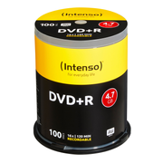 Intenso 4111156, DVD+R, 120 mm, Cakebox, 100 pc(s), 4.7 GB