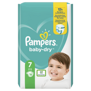 Pampers Baby-Dry Size 7, 18 Nappies, Up To 12h Protection, 15kg+, Boy/Girl, Tape diaper, 15 kg, White, Velcro, 12 h