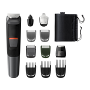 Philips MULTIGROOM Series 5000 11-in-1, Face, Hair and Body MG5730/15, Black, Grey, Rectangle, Beard, Ear, Eyebrow, Moustache, Nose, Battery, 80 min, Built-in