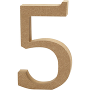 Creativ Company Number, 5, Decorative number, Wood, Wood, 130 mm, 1 pc(s)