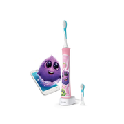 Philips Sonicare For Kids Built-in Bluetooth® Sonic electric toothbrush, Child, Sonic toothbrush, 62000 movements per minute, Pink, Battery, Built-in battery