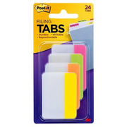 Post-It Tabs, 2 inch Solid, Assorted Bright Colors, 6/Color, 4 Colors, 24/Pk, Green,Orange,Pink,Yellow, 50.8 mm, 38 mm, 6 sheets