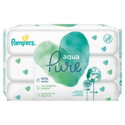 Pampers Baby Wipes Aqua Pure 3 Packs = 144 Wipes, Wet baby wipe, Hypoallergenic, Neutral pH, Paraben free, Alcohol free