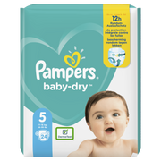 Pampers Baby-Dry Size 5, 24 Nappies, Up To 12h Protection, 11-16kg, Boy/Girl, Tape diaper, 11 kg, 16 kg, White, Velcro