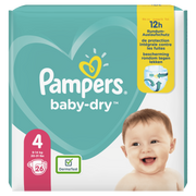 Pampers Baby-Dry Size 4, 26Nappies, Up To 12h Protection, 9-14kg, Boy/Girl, Tape diaper, 9 kg, 14 kg, White, Velcro