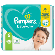 Pampers Baby-Dry Size 6, 34 Nappies, Up To 12h Protection, 13-18kg, Boy/Girl, Tape diaper, 13 kg, 18 kg, White, Velcro
