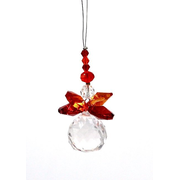 Suncatcher Engel, orange, 5 cm mit Kristallkugel