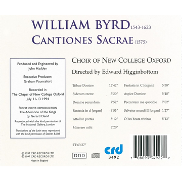 Choir Of New College Oxford Byrd: Cantiones Sacrae (1575)