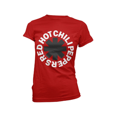 Red Hot Chili Peppers Classic B&W Asterisk (Red) Girlie S
