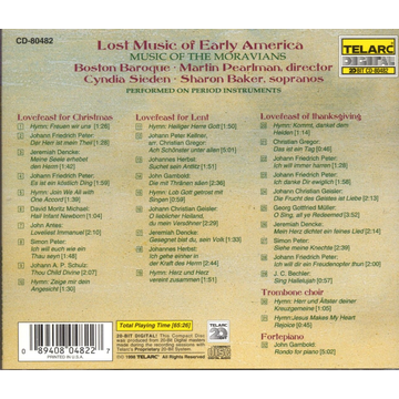 Boston Baroque Lost Music of Early America: Music of the Moravians