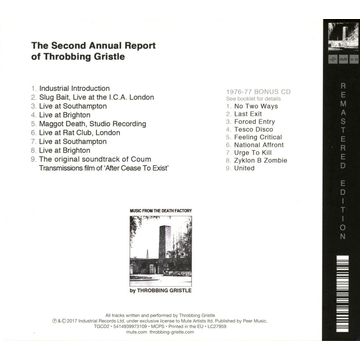 Throbbing Gristle The Second Annual Report Of Throbbing Gristle/2CD