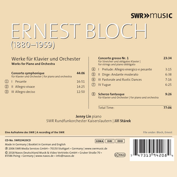Lin,Jenny Ernest Bloch: Works for Piano and Orchestra