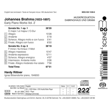 Rittner,Hardy Brahms, Vol. 2: Early Piano Works