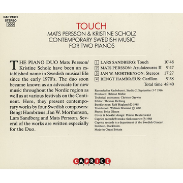 Persson,Mats Touch-Contemporary Swedish Music