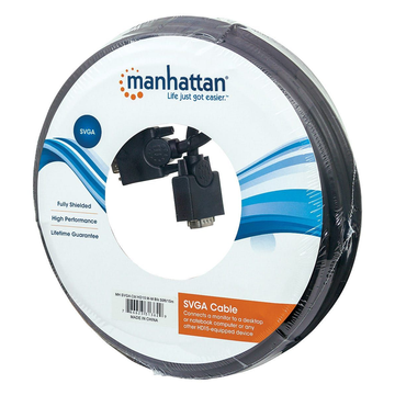 Manhattan Manhattan SVGA Monitor Cable, HD15, 15m, Male to Male, Compatible with VGA, Fully Shielded, Black, Lifetime Warranty, Polybag