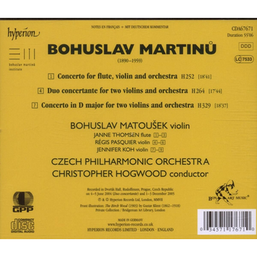 Hogwood/Matousek/Pasquier/TP Martinu: The Complete Music for Violin and Orchestra, Vol. 1