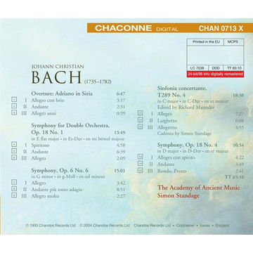 Standage,Simon/AAM J.C. Bach: Overture, Adriano in Siria; Symphonies; Sinfonia Concertante in C major