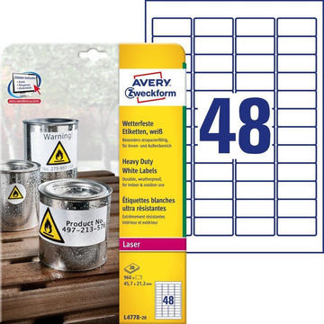 Avery Zweckform L4778-20 self-adhesive label Rectangle Permanent White 960 pc(s)