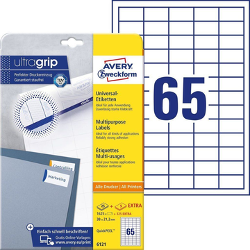Avery Zweckform 6121 self-adhesive label Rectangle Permanent White 1950 pc(s)