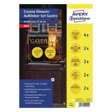 Avery Zweckform Avery Zweckform 49401 self-adhesive label Circle Permanent Black, Yellow 12 pc(s)