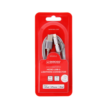 SKROSS Skross 2in1 Charge'n Sync - Steel Line USB cable 1 m USB A Micro-USB B/Lightning Silver