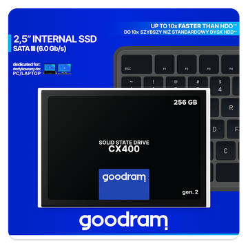 "Goodram CX400 gen.2 2.5"" 256 GB Serial ATA III 3D TLC NAND"