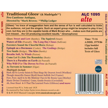 Brown/Ledger/Pro Cantione Antiqua Traditional Glees & Madrigals