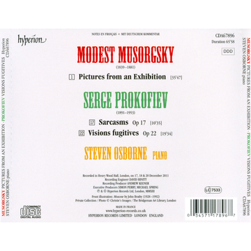 Osborne,Steven Musorgsky: Pictures from an Exhibition; Prokofiev: Visions Fugitives; Five Sarcasms