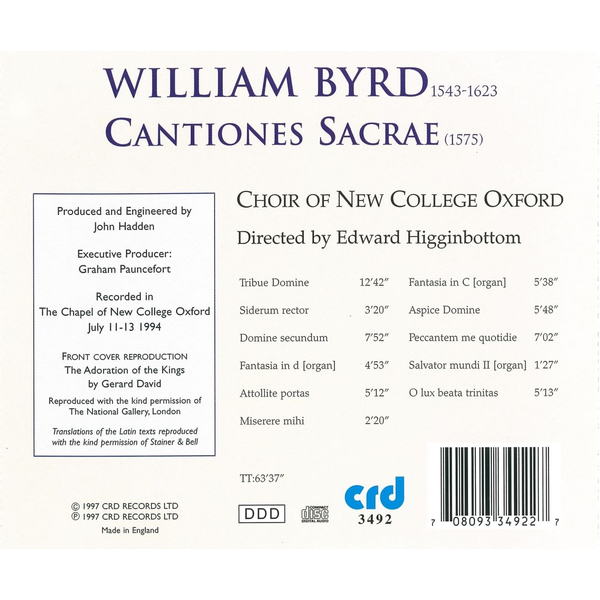 Choir Of New College Oxford - Byrd: Cantiones Sacrae (1575)